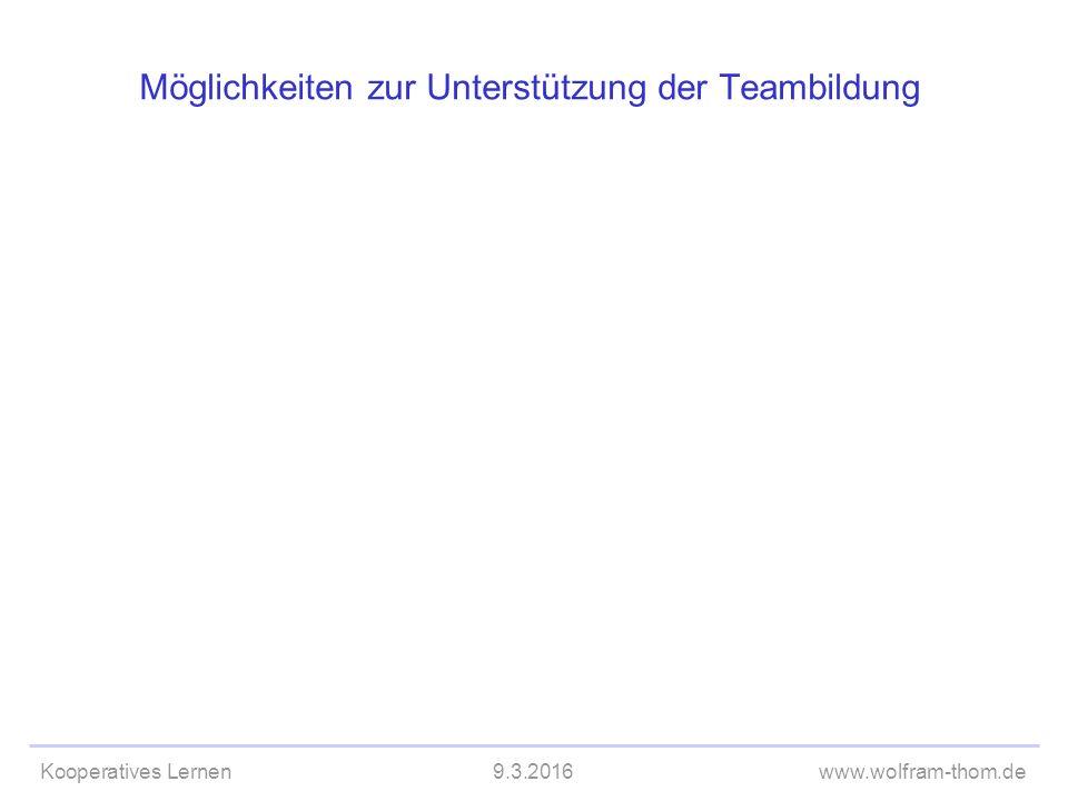 Kooperatives Lernen9.3.2016www.wolfram-thom.de Möglichkeiten zur Unterstützung der Teambildung