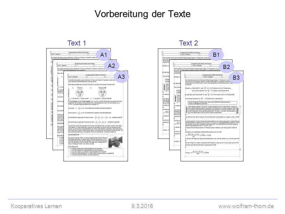 Kooperatives Lernen9.3.2016www.wolfram-thom.de Vorbereitung der Texte Text 1 Text 2 A1 A2 A3 B1 B2 B3