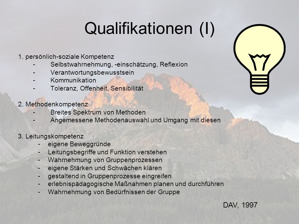 Qualifikationen (I) 1.