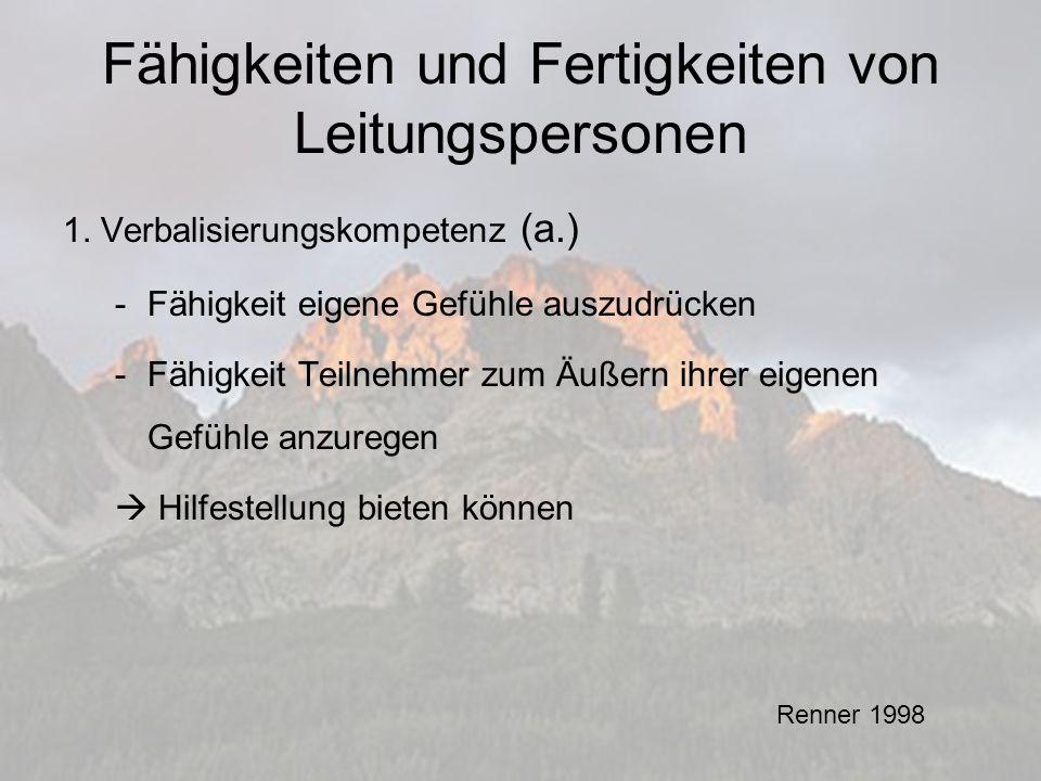 Fähigkeiten und Fertigkeiten von Leitungspersonen 1.