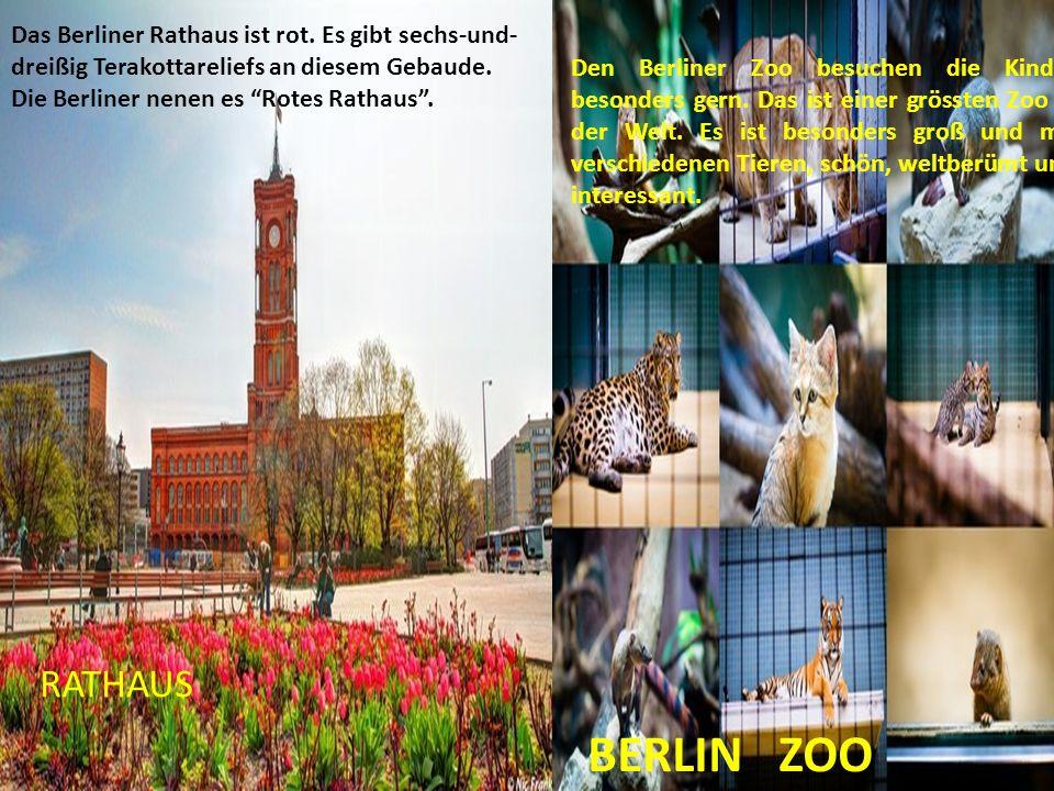 """RATHAUS BERLIN ZOO Das Berliner Rathaus ist rot. Es gibt sechs-und- dreißig Terakottareliefs an diesem Gebaude. Die Berliner nenen es """"Rotes Rathaus""""."""