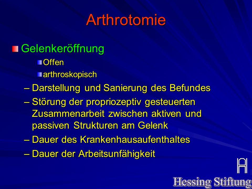 Arthrotomie - Arthroskopie