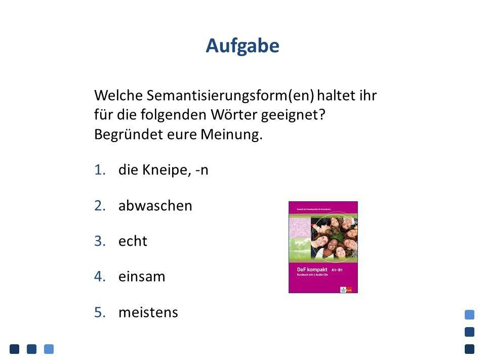 Aufgabe Welche Semantisierungsform(en) haltet ihr für die folgenden Wörter geeignet? Begründet eure Meinung. 1.die Kneipe, -n 2.abwaschen 3.echt 4.ein