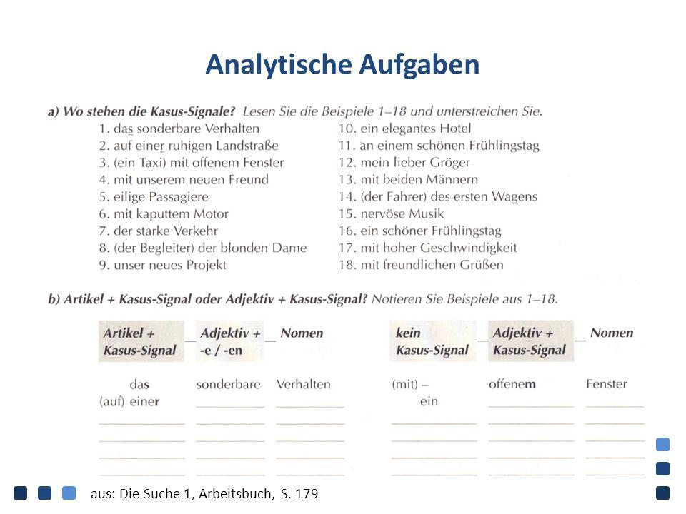 Analytische Aufgaben aus: Die Suche 1, Arbeitsbuch, S. 179
