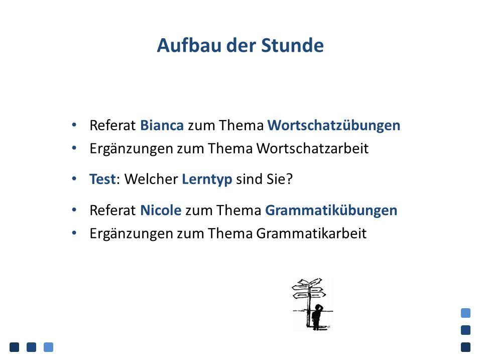Aufbau der Stunde Referat Bianca zum Thema Wortschatzübungen Ergänzungen zum Thema Wortschatzarbeit Test: Welcher Lerntyp sind Sie? Referat Nicole zum