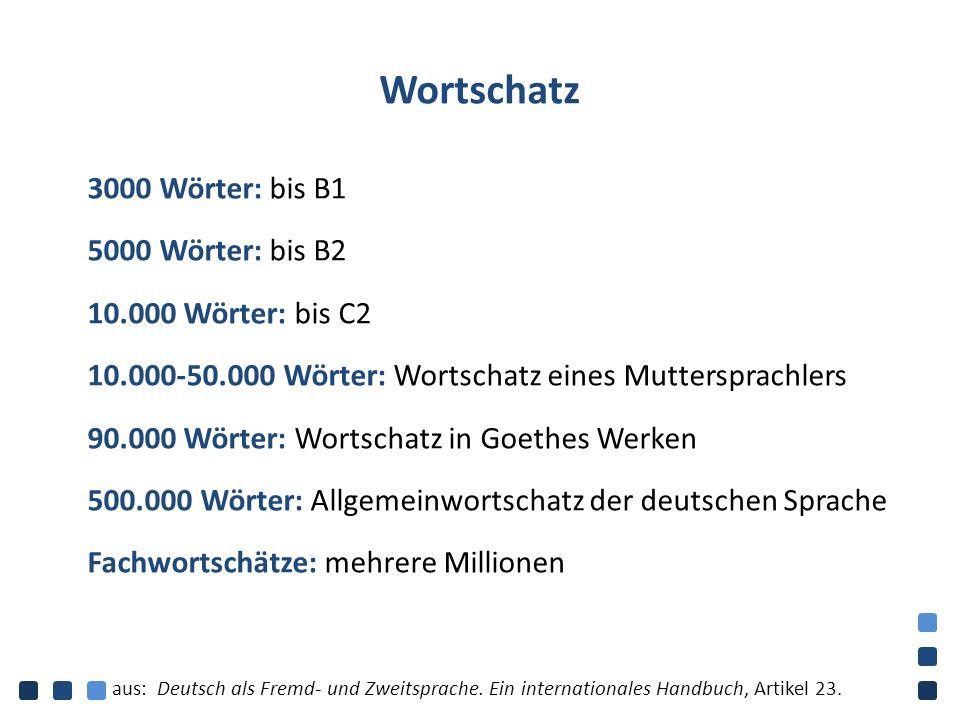 Wortschatz 3000 Wörter: bis B1 5000 Wörter: bis B2 10.000 Wörter: bis C2 10.000-50.000 Wörter: Wortschatz eines Muttersprachlers 90.000 Wörter: Wortsc