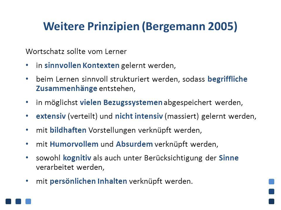 Weitere Prinzipien (Bergemann 2005) Wortschatz sollte vom Lerner in sinnvollen Kontexten gelernt werden, beim Lernen sinnvoll strukturiert werden, sod