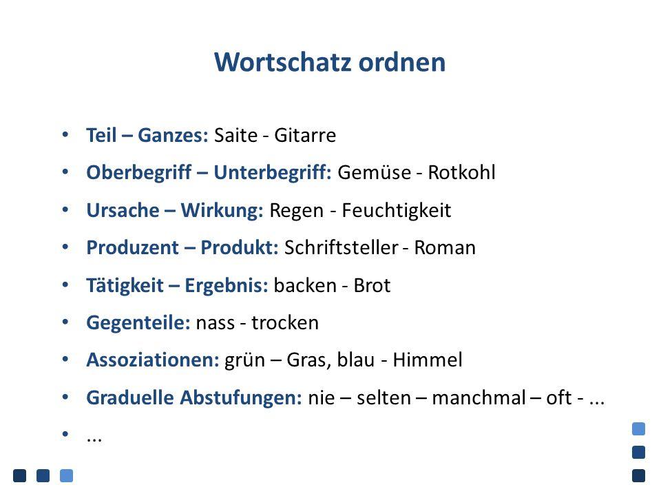 Wortschatz ordnen Teil – Ganzes: Saite - Gitarre Oberbegriff – Unterbegriff: Gemüse - Rotkohl Ursache – Wirkung: Regen - Feuchtigkeit Produzent – Prod