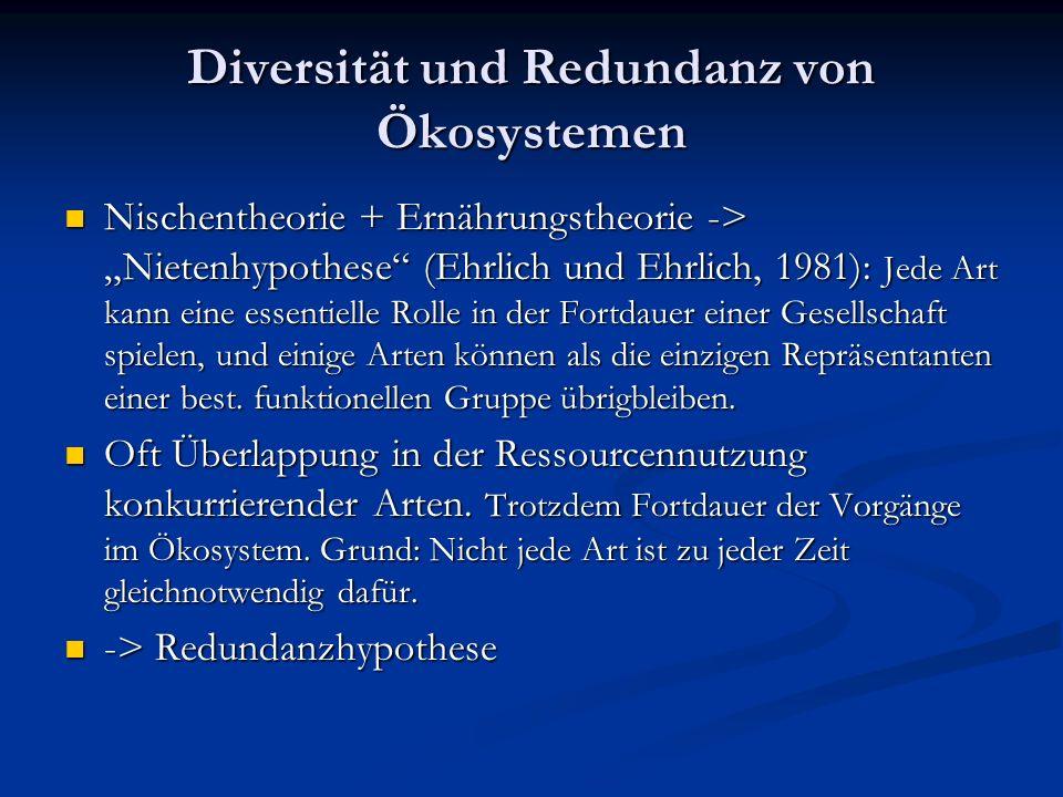 """Diversität und Redundanz von Ökosystemen Nischentheorie + Ernährungstheorie -> """"Nietenhypothese (Ehrlich und Ehrlich, 1981): Jede Art kann eine essentielle Rolle in der Fortdauer einer Gesellschaft spielen, und einige Arten können als die einzigen Repräsentanten einer best."""
