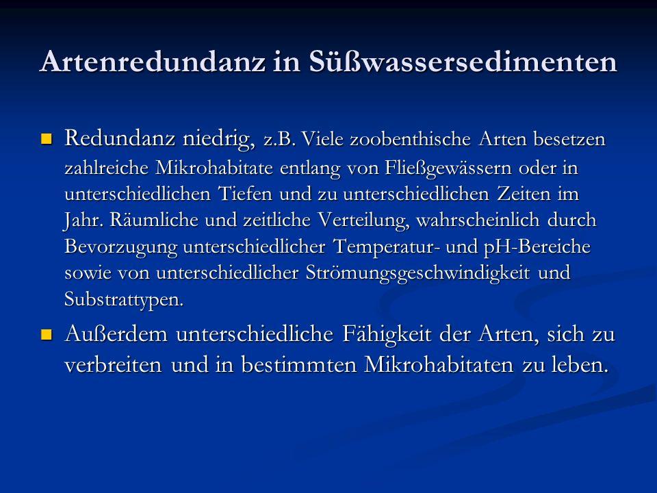 Artenredundanz in Süßwassersedimenten Redundanz niedrig, z.B.
