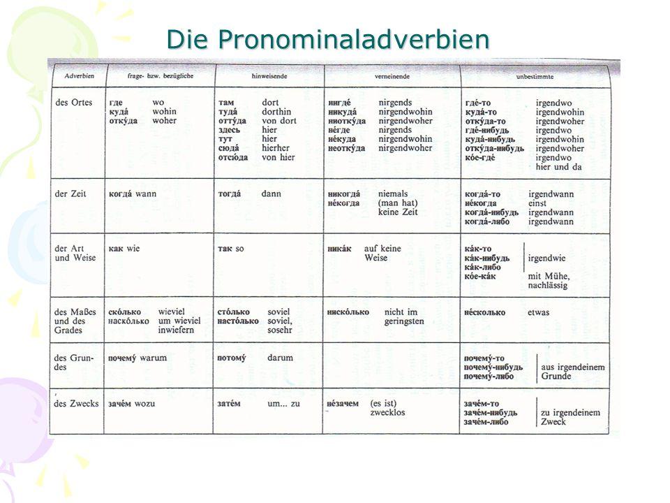 Die Pronominaladverbien