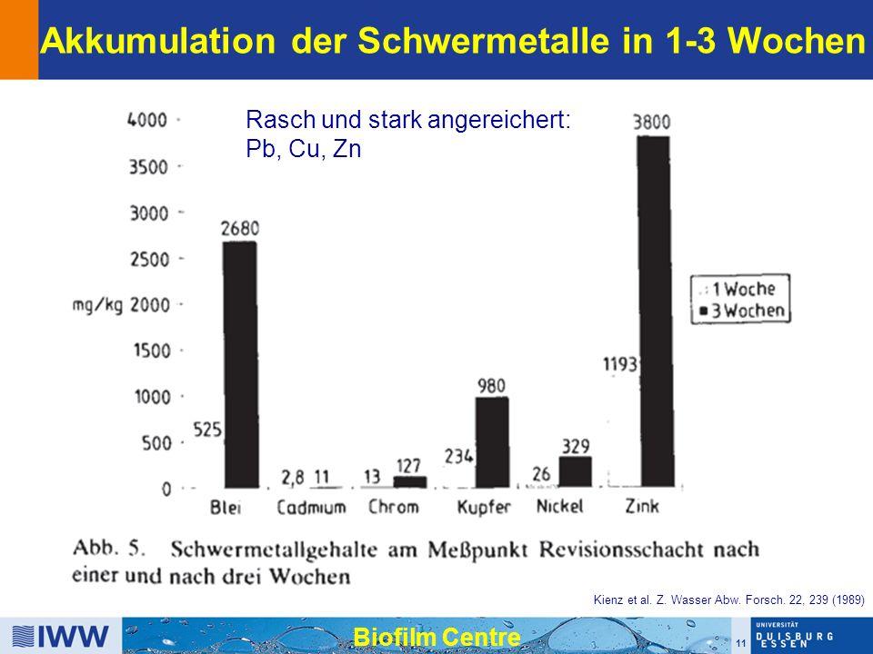 11 Biofilm Centre Akkumulation der Schwermetalle in 1-3 Wochen Kienz et al.