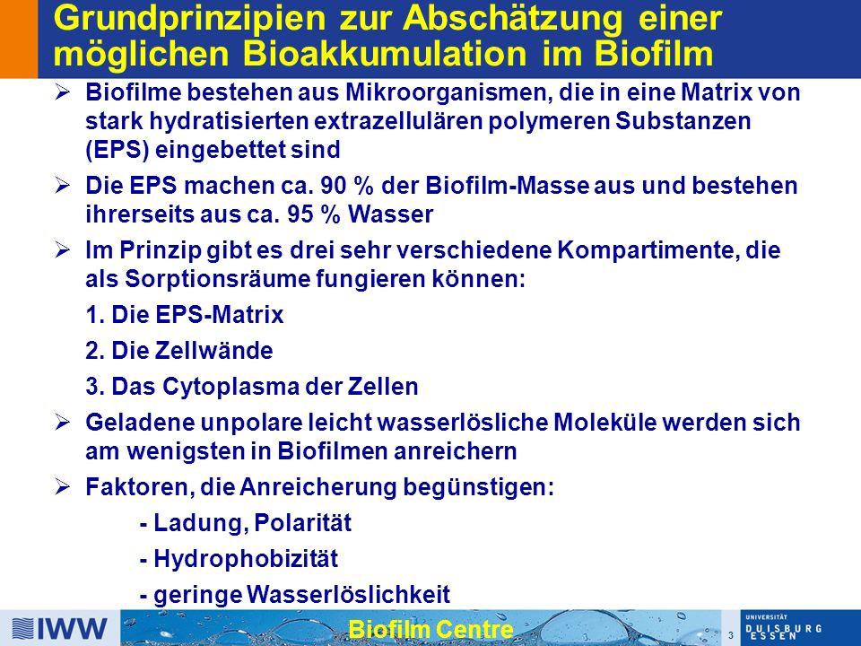 3 Biofilm Centre Grundprinzipien zur Abschätzung einer möglichen Bioakkumulation im Biofilm  Biofilme bestehen aus Mikroorganismen, die in eine Matrix von stark hydratisierten extrazellulären polymeren Substanzen (EPS) eingebettet sind  Die EPS machen ca.