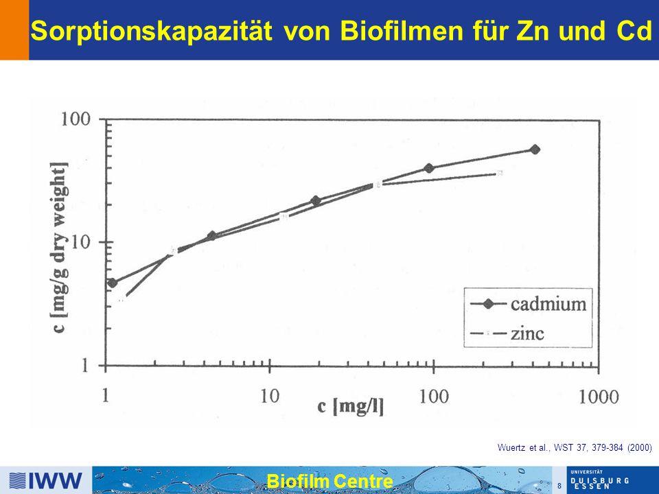 8 Biofilm Centre Sorptionskapazität von Biofilmen für Zn und Cd Wuertz et al., WST 37, 379-384 (2000)