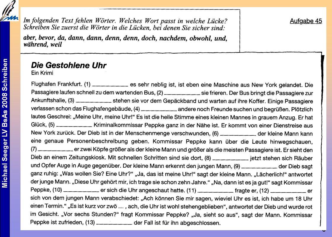 """Michael Seeger LV BsAs 2008 Schreiben 8 Aufbauende Übungen Wörter werden Sätze, werden Texte """"Vom Wort zum Satz zum Text Kohärenz durch Konnektoren (80)"""