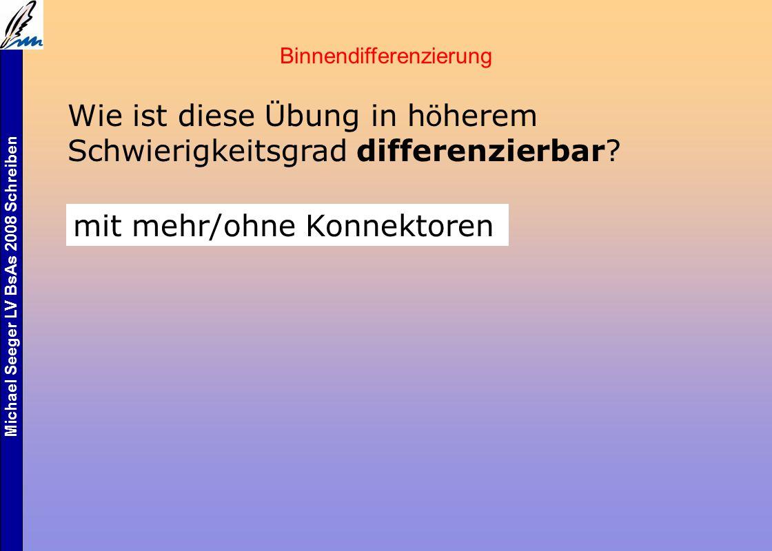 Michael Seeger LV BsAs 2008 Schreiben Binnendifferenzierung Wie ist diese Ü bung in h ö herem Schwierigkeitsgrad differenzierbar.