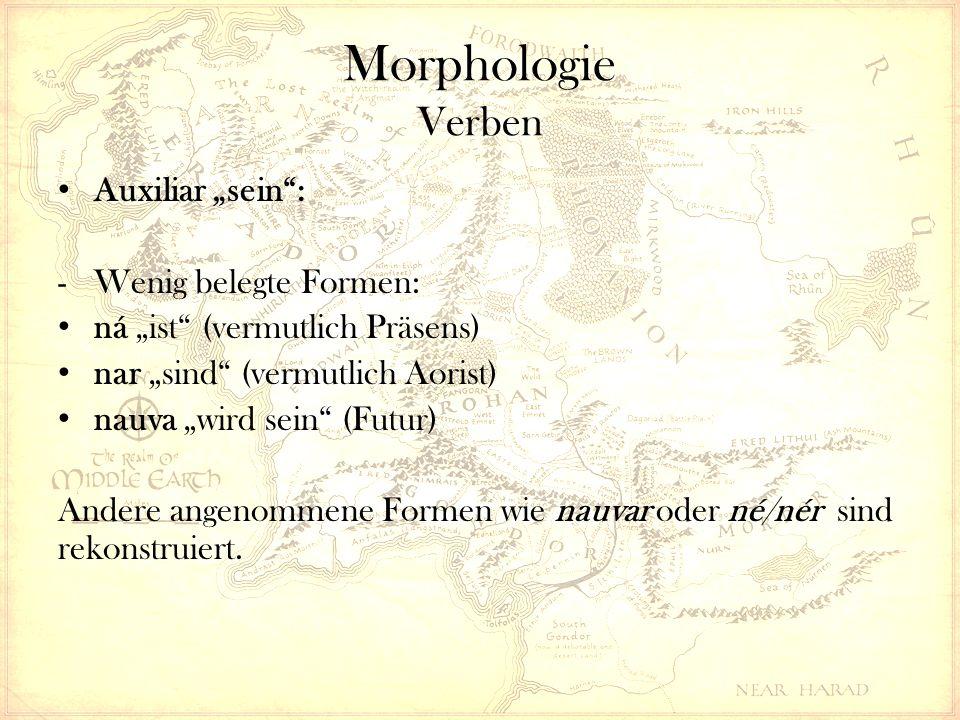 """Morphologie Verben Auxiliar """"sein : -Wenig belegte Formen: ná """"ist (vermutlich Präsens) nar """"sind (vermutlich Aorist) nauva """"wird sein (Futur) Andere angenommene Formen wie nauvar oder né/nér sind rekonstruiert."""