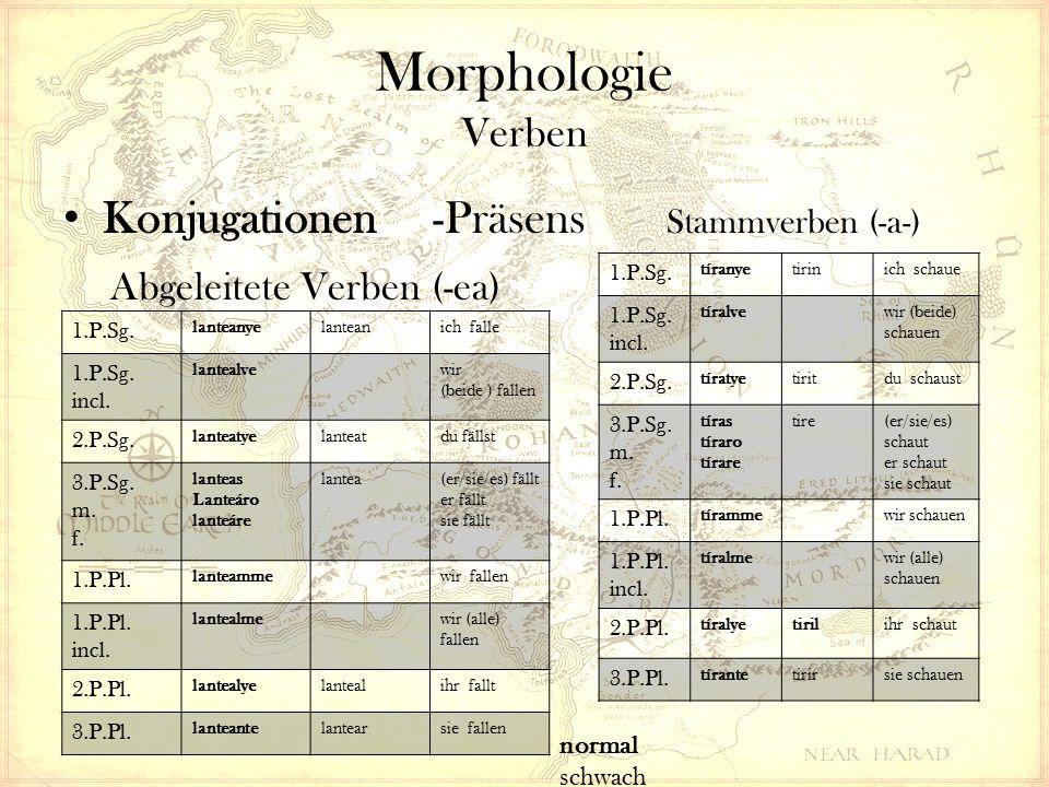 Morphologie Verben Konjugationen -Präsens Stammverben (-a-) Abgeleitete Verben (-ea) 1.P.Sg.