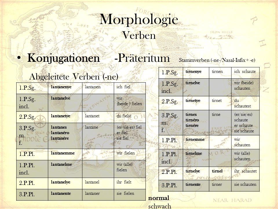 Morphologie Verben Konjugationen -Präteritum Stammverben (-ne-/Nasal-Infix + -e) Abgeleitete Verben (-ne) 1.P.Sg.