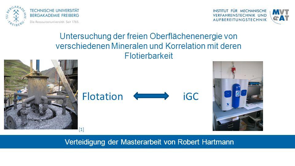 Untersuchung der freien Oberflächenenergie von verschiedenen Mineralen und Korrelation mit deren Flotierbarkeit Verteidigung der Masterarbeit von Robe