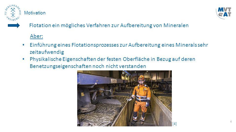 4 Motivation Einführung eines Flotationsprozesses zur Aufbereitung eines Minerals sehr zeitaufwendig Physikalische Eigenschaften der festen Oberfläche