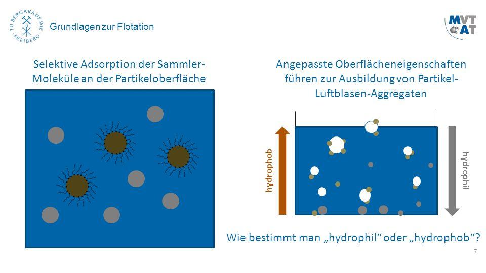 7 Grundlagen zur Flotation Selektive Adsorption der Sammler- Moleküle an der Partikeloberfläche Angepasste Oberflächeneigenschaften führen zur Ausbild