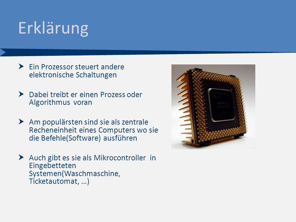 Erklärung  Ein Prozessor steuert andere elektronische Schaltungen  Dabei treibt er einen Prozess oder Algorithmus voran  Am populärsten sind sie als zentrale Recheneinheit eines Computers wo sie die Befehle(Software) ausführen  Auch gibt es sie als Mikrocontroller in Eingebetteten Systemen(Waschmaschine, Ticketautomat, …)