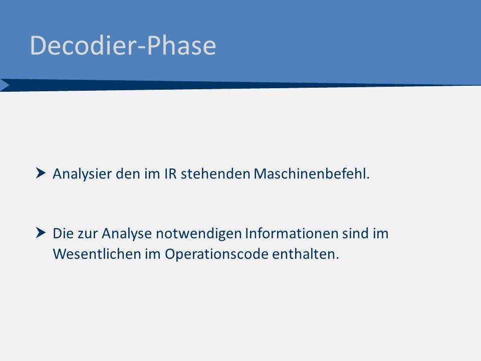 Decodier-Phase  Analysier den im IR stehenden Maschinenbefehl.  Die zur Analyse notwendigen Informationen sind im Wesentlichen im Operationscode ent
