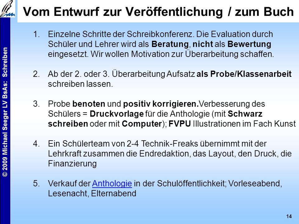 © 2009 Michael Seeger LV BsAs: Schreiben 13 Kriterien einer 6. Klasse DaM Schülerarbeiten: Mann am Fenster online Durst online