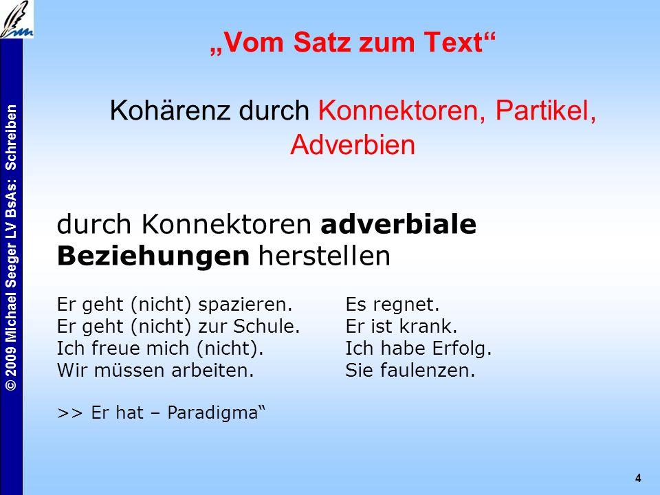 """© 2009 Michael Seeger LV BsAs: Schreiben 4 """"Vom Satz zum Text Kohärenz durch Konnektoren, Partikel, Adverbien durch Konnektoren adverbiale Beziehungen herstellen Er geht (nicht) spazieren.Es regnet."""