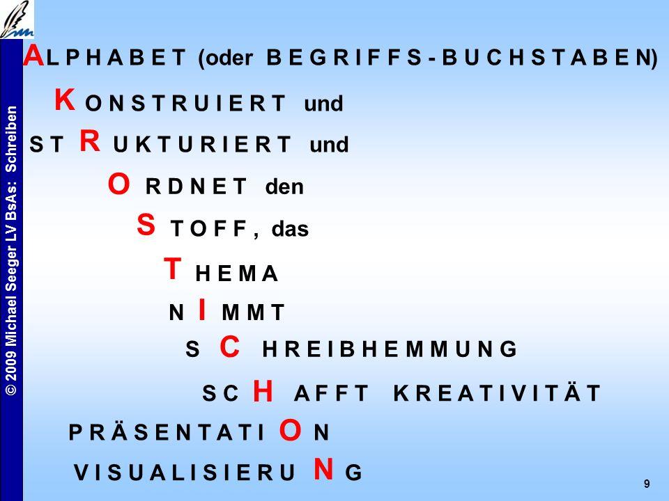 © 2009 Michael Seeger LV BsAs: Schreiben 8 Akrostichon Akrostichon, gr. ÂkrosticíV , liegt vor, wenn die Anfangsbuchstaben (- silben, -wörter) der Ve