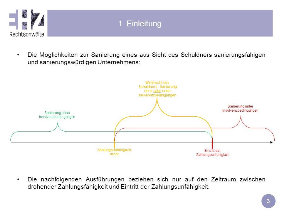 3 1. Einleitung Die Möglichkeiten zur Sanierung eines aus Sicht des Schuldners sanierungsfähigen und sanierungswürdigen Unternehmens: Die nachfolgende