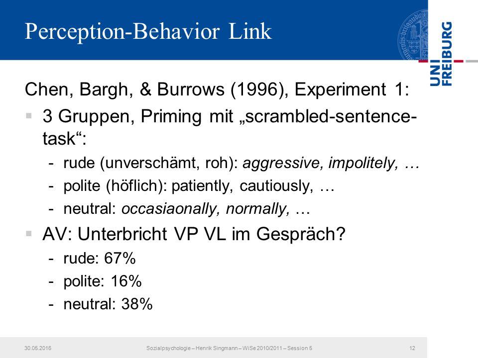 """Perception-Behavior Link Chen, Bargh, & Burrows (1996), Experiment 1:  3 Gruppen, Priming mit """"scrambled-sentence- task : -rude (unverschämt, roh): aggressive, impolitely, … -polite (höflich): patiently, cautiously, … -neutral: occasiaonally, normally, …  AV: Unterbricht VP VL im Gespräch."""