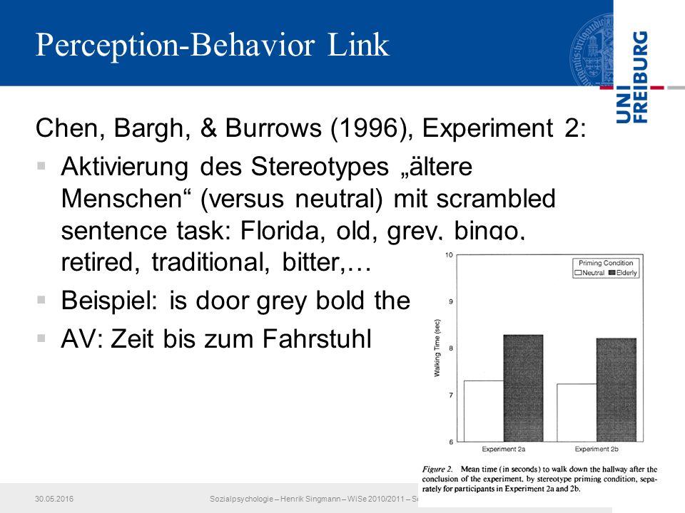 """Perception-Behavior Link Chen, Bargh, & Burrows (1996), Experiment 2:  Aktivierung des Stereotypes """"ältere Menschen (versus neutral) mit scrambled sentence task: Florida, old, grey, bingo, retired, traditional, bitter,…  Beispiel: is door grey bold the  AV: Zeit bis zum Fahrstuhl 30.05.2016Sozialpsychologie – Henrik Singmann – WiSe 2010/2011 – Session 413"""