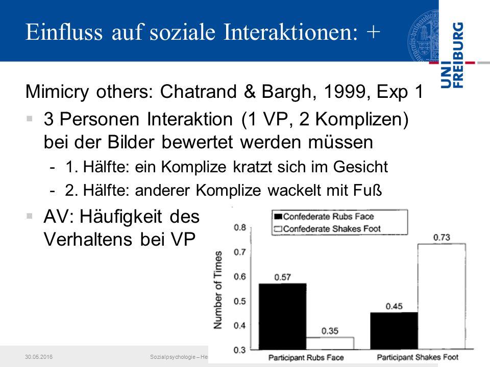 Einfluss auf soziale Interaktionen: + Mimicry others: Chatrand & Bargh, 1999, Exp 1  3 Personen Interaktion (1 VP, 2 Komplizen) bei der Bilder bewertet werden müssen -1.