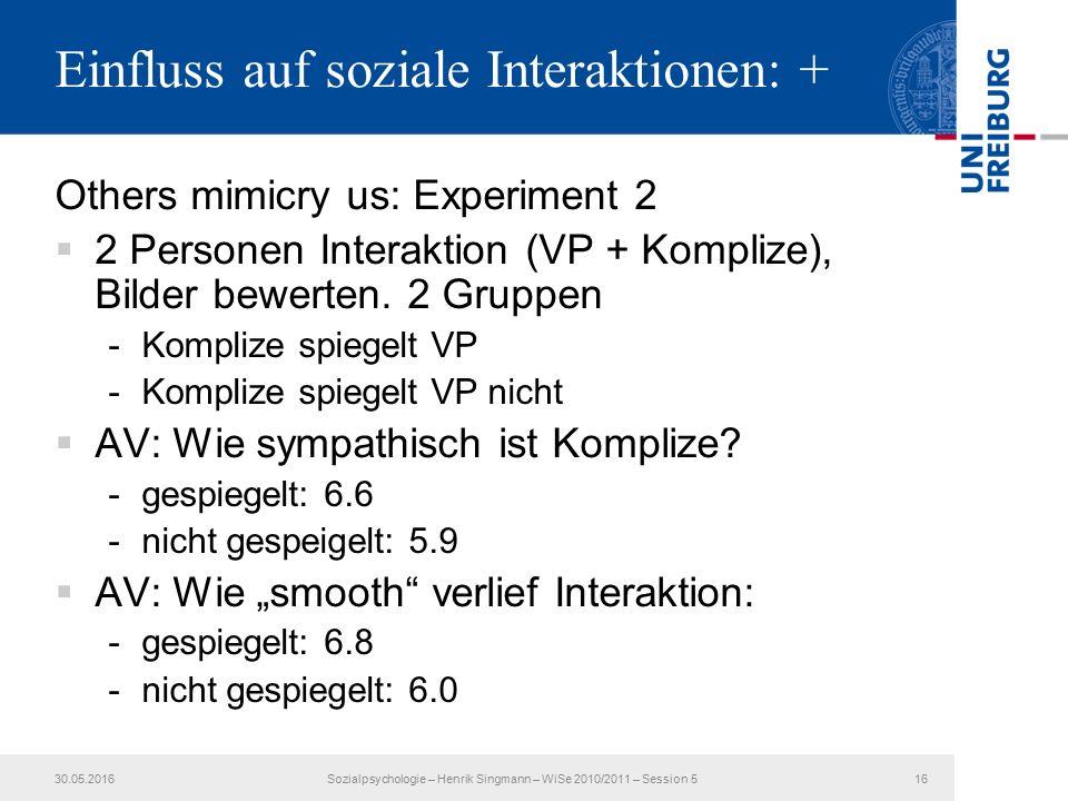 Einfluss auf soziale Interaktionen: + Others mimicry us: Experiment 2  2 Personen Interaktion (VP + Komplize), Bilder bewerten.