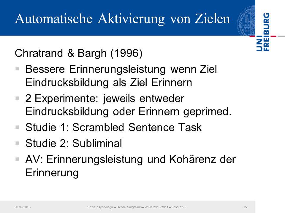 Automatische Aktivierung von Zielen Chratrand & Bargh (1996)  Bessere Erinnerungsleistung wenn Ziel Eindrucksbildung als Ziel Erinnern  2 Experimente: jeweils entweder Eindrucksbildung oder Erinnern geprimed.