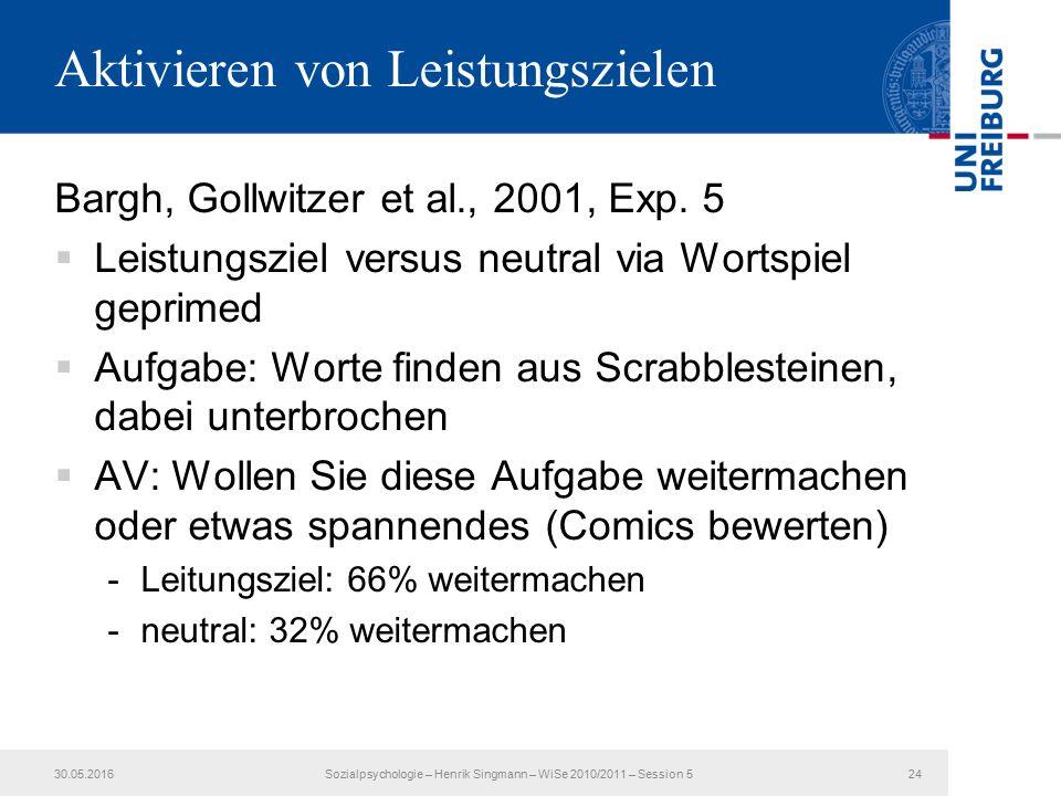 Aktivieren von Leistungszielen Bargh, Gollwitzer et al., 2001, Exp.