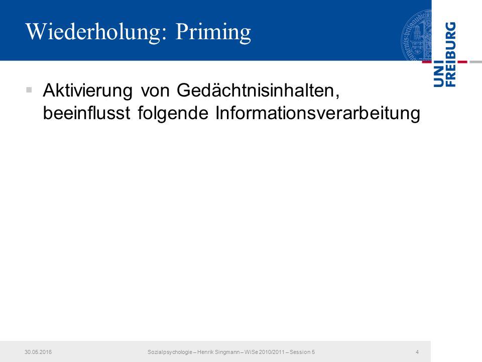 Wiederholung: Priming  Aktivierung von Gedächtnisinhalten, beeinflusst folgende Informationsverarbeitung 30.05.2016Sozialpsychologie – Henrik Singmann – WiSe 2010/2011 – Session 54