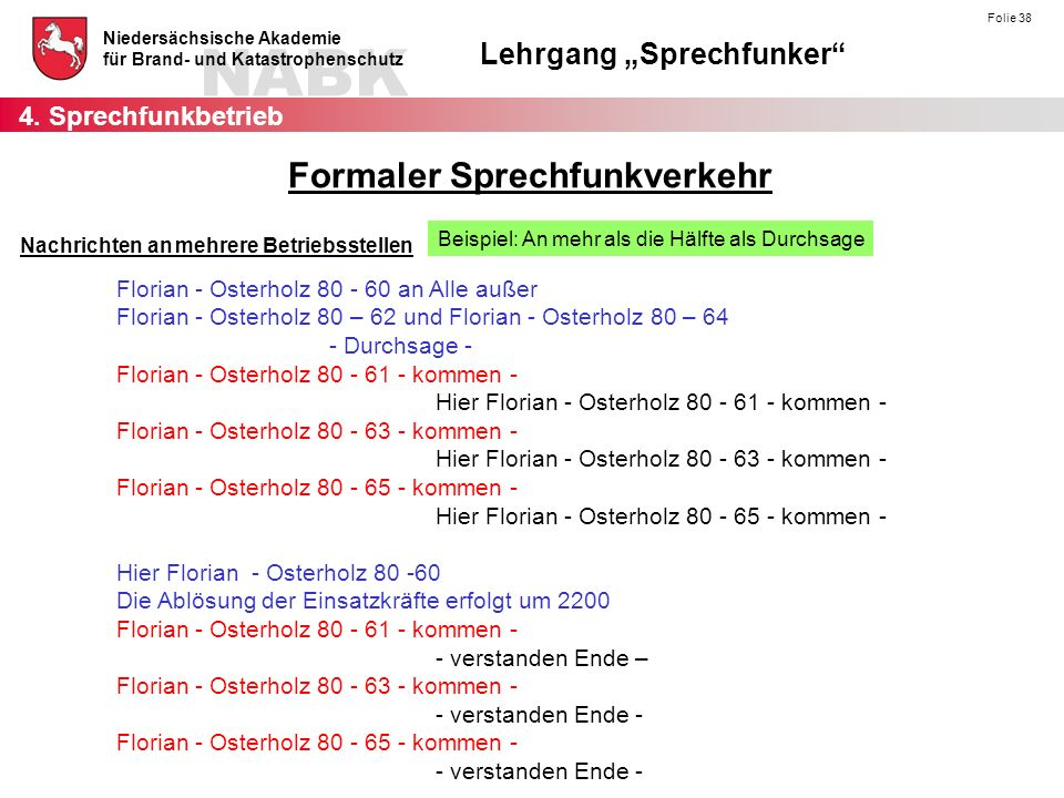 """NABK Niedersächsische Akademie für Brand- und Katastrophenschutz Lehrgang """"Sprechfunker Folie 38 Nachrichten an mehrere Betriebsstellen Beispiel: An mehr als die Hälfte als Durchsage Florian - Osterholz 80 - 60 an Alle außer Florian - Osterholz 80 – 62 und Florian - Osterholz 80 – 64 - Durchsage - Florian - Osterholz 80 - 61 - kommen - Hier Florian - Osterholz 80 - 61 - kommen - Florian - Osterholz 80 - 63 - kommen - Hier Florian - Osterholz 80 - 63 - kommen - Florian - Osterholz 80 - 65 - kommen - Hier Florian - Osterholz 80 - 65 - kommen - Hier Florian - Osterholz 80 -60 Die Ablösung der Einsatzkräfte erfolgt um 2200 Florian - Osterholz 80 - 61 - kommen - - verstanden Ende – Florian - Osterholz 80 - 63 - kommen - - verstanden Ende - Florian - Osterholz 80 - 65 - kommen - - verstanden Ende - 4."""