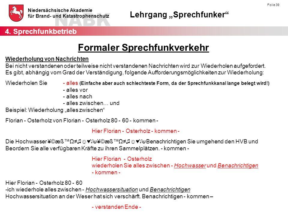 """NABK Niedersächsische Akademie für Brand- und Katastrophenschutz Lehrgang """"Sprechfunker Folie 39 Wiederholung von Nachrichten Bei nicht verstandenen oder teilweise nicht verstandenen Nachrichten wird zur Wiederholen aufgefordert."""