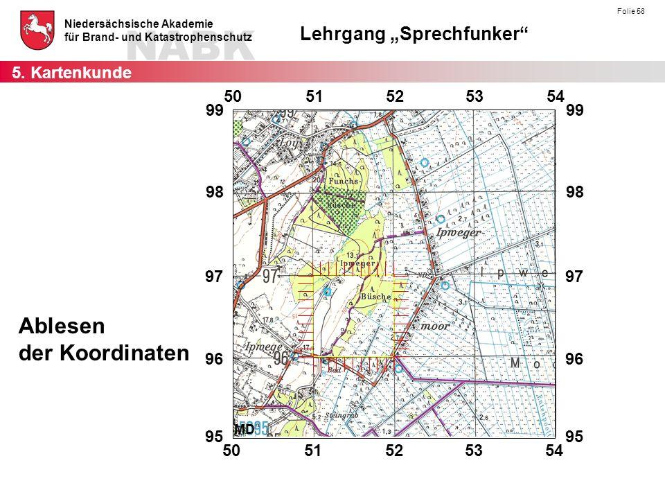 """NABK Niedersächsische Akademie für Brand- und Katastrophenschutz Lehrgang """"Sprechfunker Folie 58 Ablesen der Koordinaten 5."""