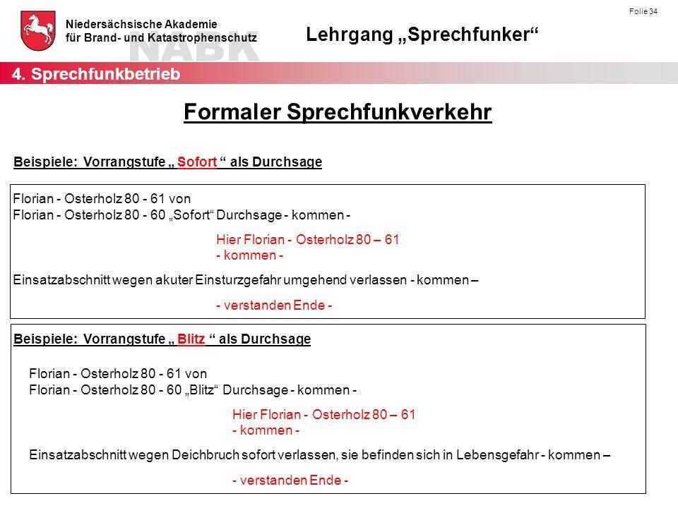 """NABK Niedersächsische Akademie für Brand- und Katastrophenschutz Lehrgang """"Sprechfunker Folie 45 Gleichwellenfunk (Relaisbetrieb mit mehreren Relaisfunkstellen) ZRs Rs 1 Rs 2 Rs 3 Betriebsarten 4."""