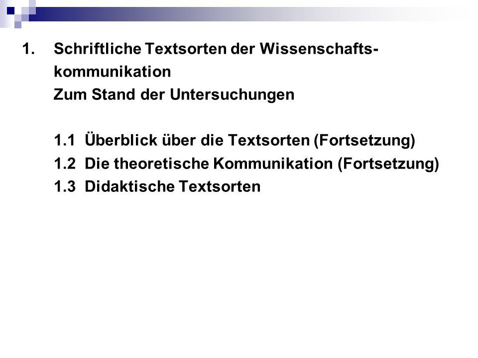 1.Schriftliche Textsorten der Wissenschafts- kommunikation Zum Stand der Untersuchungen 1.1 Überblick über die Textsorten (Fortsetzung) 1.2 Die theore