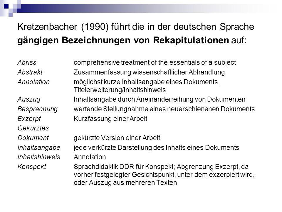 Kretzenbacher (1990) führt die in der deutschen Sprache gängigen Bezeichnungen von Rekapitulationen auf: Abrisscomprehensive treatment of the essentials of a subject AbstraktZusammenfassung wissenschaftlicher Abhandlung Annotationmöglichst kurze Inhaltsangabe eines Dokuments, Titelerweiterung/Inhaltshinweis AuszugInhaltsangabe durch Aneinanderreihung von Dokumenten Besprechungwertende Stellungnahme eines neuerschienenen Dokuments ExzerptKurzfassung einer Arbeit Gekürztes Dokumentgekürzte Version einer Arbeit Inhaltsangabejede verkürzte Darstellung des Inhalts eines Dokuments InhaltshinweisAnnotation KonspektSprachdidaktik DDR für Konspekt; Abgrenzung Exzerpt, da vorher festgelegter Gesichtspunkt, unter dem exzerpiert wird, oder Auszug aus mehreren Texten