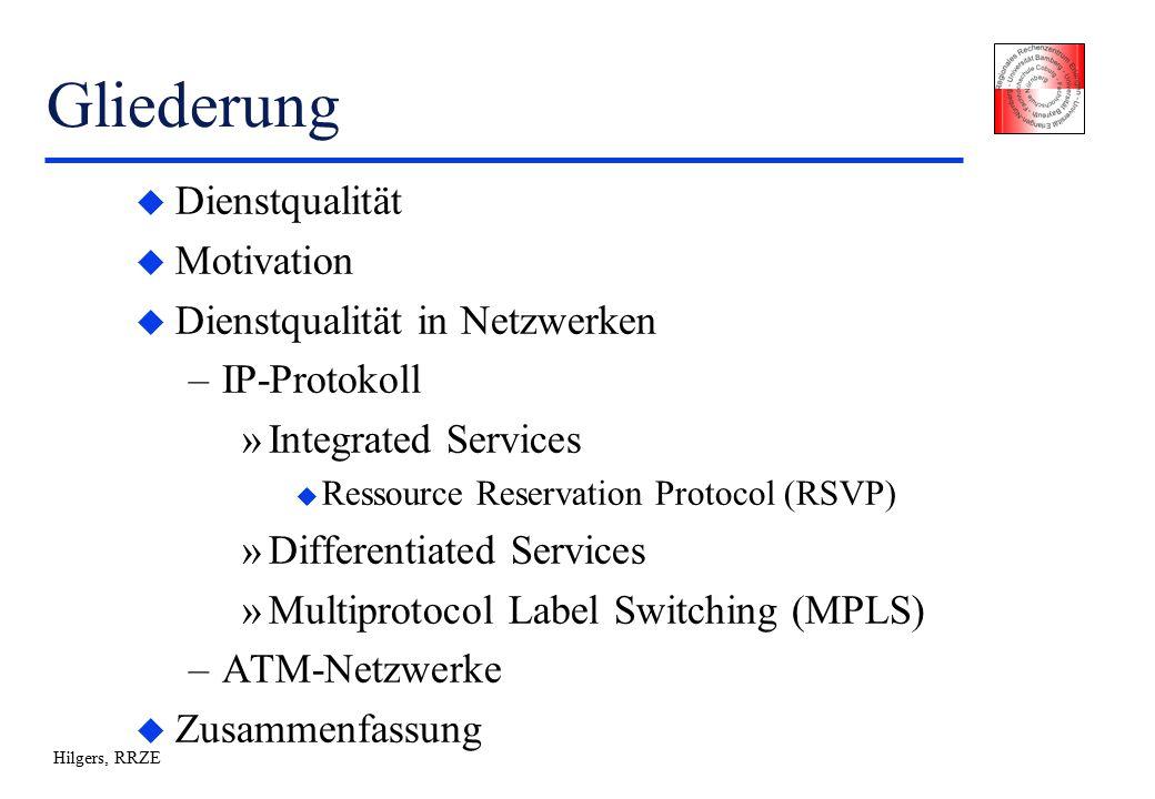 Hilgers, RRZE RSVP (VI) u Probleme von RSVP (Applicability Statement: RFC 2208) –Skalierbarkeit: Reservierung auf Basis von Flows, Datenstrukturen pro Reservierung im Router –Security (Authentifizierung bei Reservierung) –Implementation von RSVP-Signalisierung in den Anwendungen –Abbildung der QoS der Anwendungen auf RSVP Syntax Þ Ressourcen-intensiv, keine Implementation auf breitbandigen Netzabschnitten