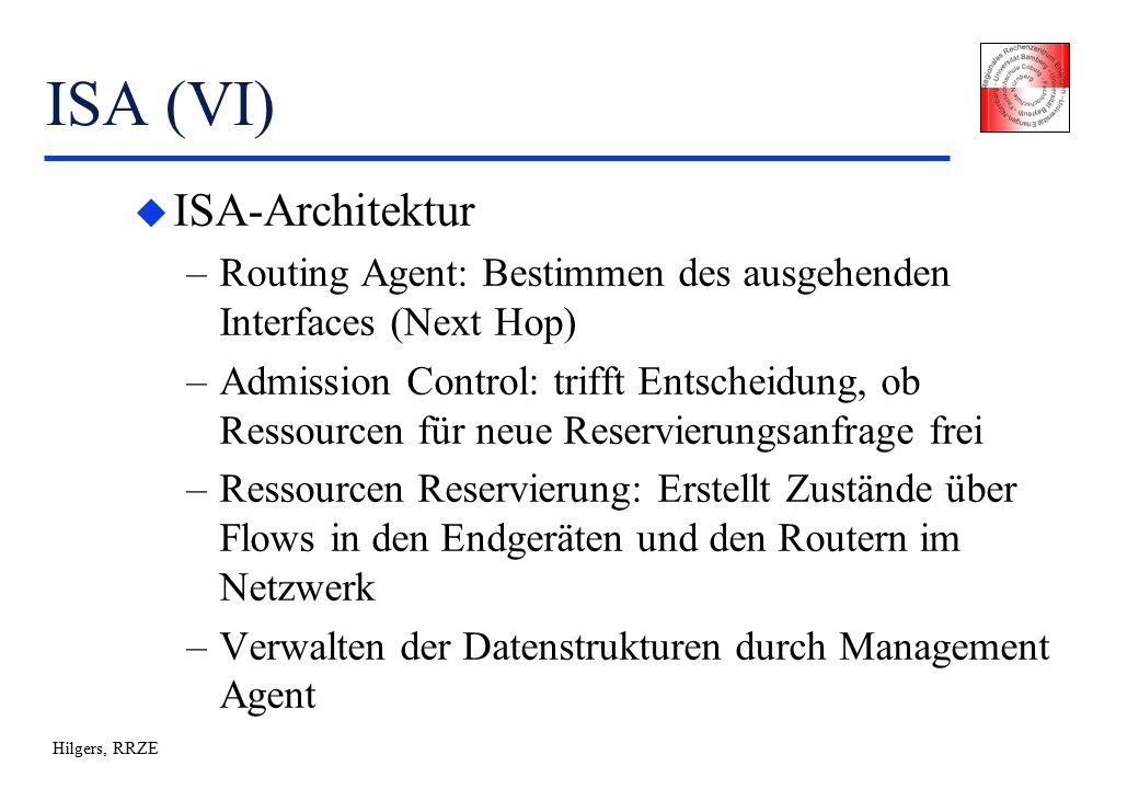 Hilgers, RRZE ISA (VI) u ISA-Architektur –Routing Agent: Bestimmen des ausgehenden Interfaces (Next Hop) –Admission Control: trifft Entscheidung, ob Ressourcen für neue Reservierungsanfrage frei –Ressourcen Reservierung: Erstellt Zustände über Flows in den Endgeräten und den Routern im Netzwerk –Verwalten der Datenstrukturen durch Management Agent