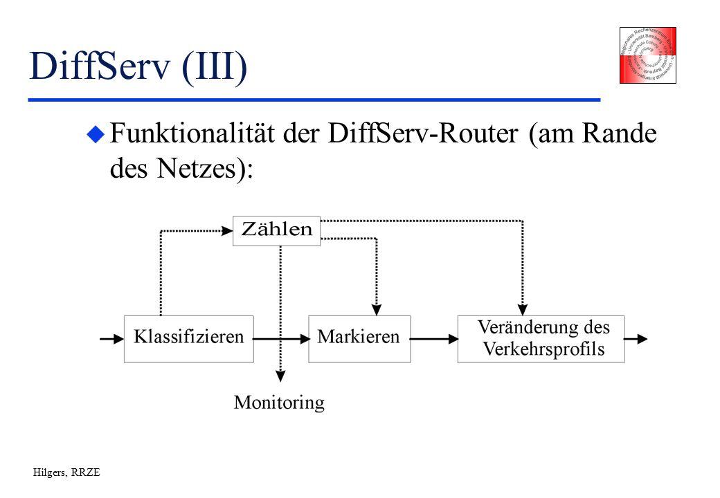 Hilgers, RRZE DiffServ (III) u Funktionalität der DiffServ-Router (am Rande des Netzes):