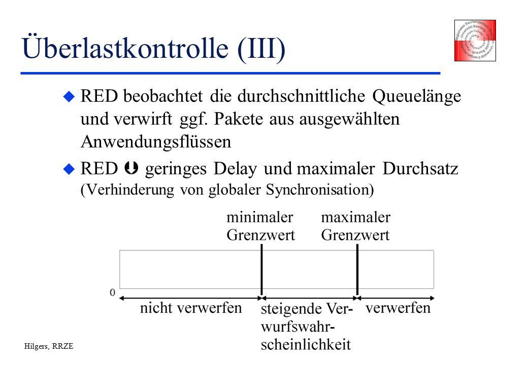 Hilgers, RRZE Überlastkontrolle (III) u RED beobachtet die durchschnittliche Queuelänge und verwirft ggf.
