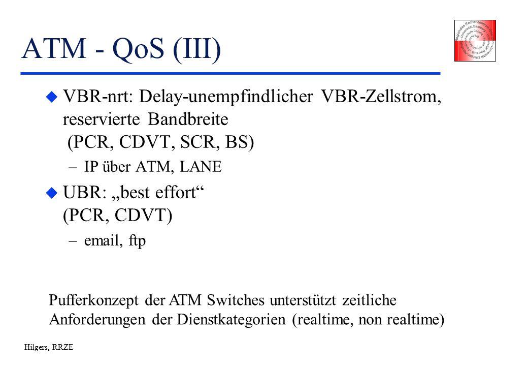 """Hilgers, RRZE ATM - QoS (III) u VBR-nrt: Delay-unempfindlicher VBR-Zellstrom, reservierte Bandbreite (PCR, CDVT, SCR, BS) –IP über ATM, LANE u UBR: """"best effort (PCR, CDVT) –email, ftp Pufferkonzept der ATM Switches unterstützt zeitliche Anforderungen der Dienstkategorien (realtime, non realtime)"""
